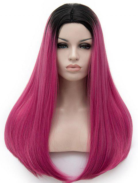 Long Middle Part Colormix Straight Cosplay Party Synthetic Wig - multicolor G