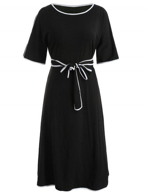 Plus Size Casual Belted Dress - BLACK 2X