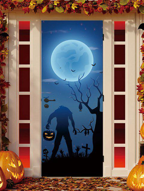 Halloween Pumpkin Bat Night Print Door Art Stickers - multicolor 2PCS X 15 X 79 INCH