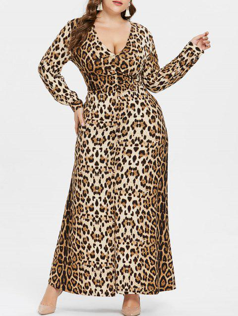 Plus Size V Neck Leopard Maxi Dress - LEOPARD 4X