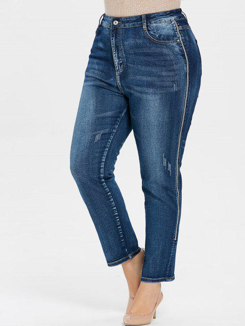 Plus Size Stripe Side Jeans - JEANS BLUE 2X