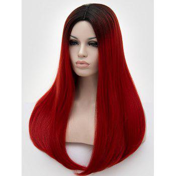 Long Middle Part Colormix Straight Cosplay Party Synthetic Wig - multicolor D