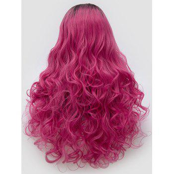 Long Center Parting Ombre Curly Synthetic Party Cosplay Wig - multicolor C