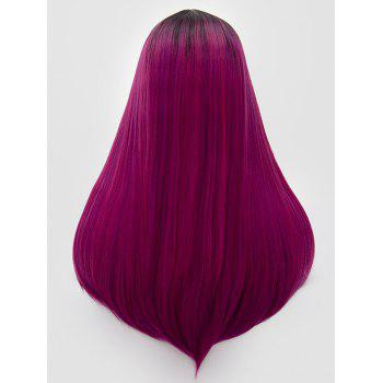 Long Middle Part Colormix Straight Cosplay Party Synthetic Wig - multicolor E