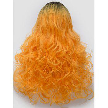 Long Center Parting Ombre Curly Synthetic Party Cosplay Wig - multicolor E