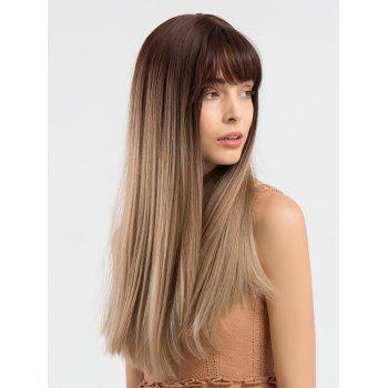 Long Colormix Full Bang Straight Synthetic Wig - multicolor