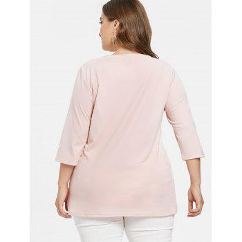 Long Sleeve Plus Size Front Cut Out T-shirt - PINK BUBBLEGUM 2X