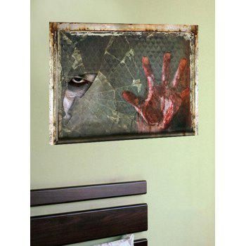 Halloween Blood Hand Eye Print Removable Wall Sticker - multicolor