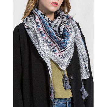 Stylish Dreamy Printed Fringed Long Scarf - LIGHT SKY BLUE