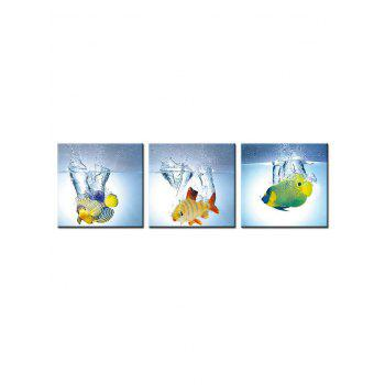 Fish Water Print Unframed Canvas Paintings - multicolor 3PCS X 24 X 24 INCH( NO FRAME )