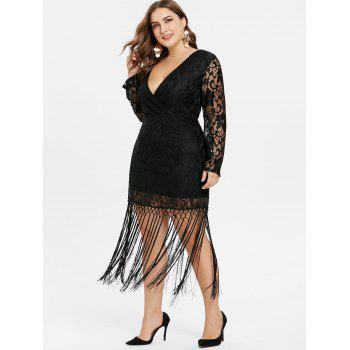 Plus Size Long Sleeve Tassel Dress - BLACK 3X