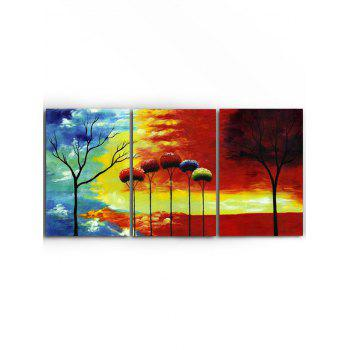 Sunset Trees Print Unframed Canvas Paintings - multicolor 3PCS X 24 X 35 INCH( NO FRAME )