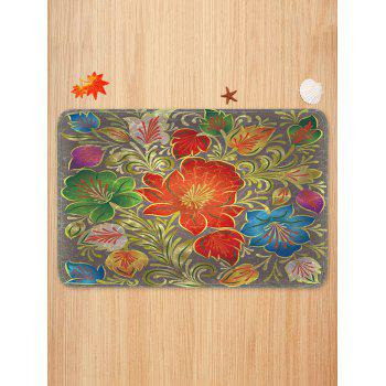 Vintage Flowers Pattern Anti-skid Flannel Area Rug - multicolor W16 X L24 INCH