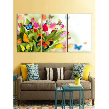 Butterfly and Flowers Print Unframed Canvas Paintings - multicolor 3PCS X 12 X 18 INCH( NO FRAME )