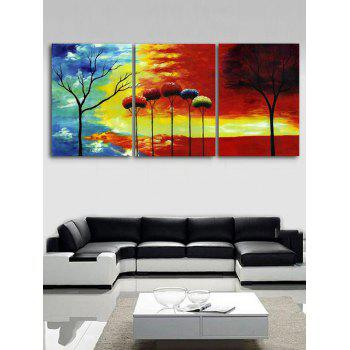 Sunset Trees Print Unframed Canvas Paintings - multicolor 3PCS X 16 X 24 INCH( NO FRAME)