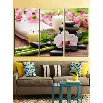 Candle and Stones Unframed Canvas Paintings - multicolor 3PCS X 12 X 24 INCH( NO FRAME )