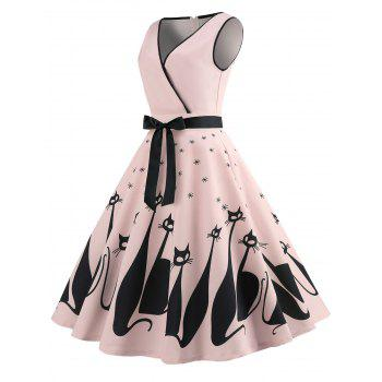 Sleeveless Cat Pattern A Line Dress - PINK M