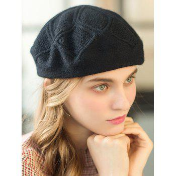 Stylish Solid Color Elegant Beret - BLACK