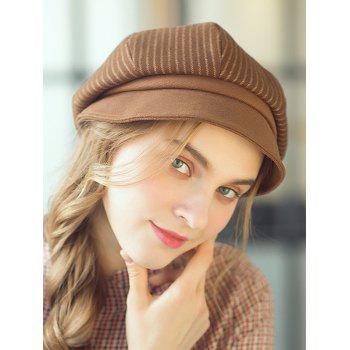 Elegant Vertical Striped Newsboy Hat - LIGHT BROWN