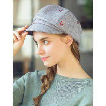 Vintage Floral Embroidery Newsboy Hat - GRAY CLOUD