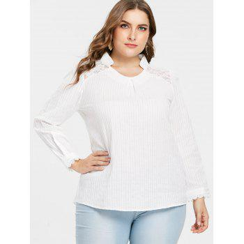 Plus Size Lace Stand Up Collar Blouse - WHITE 3X