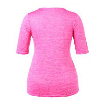 Plus Size Marled Square Neck T-shirt - PINK CUPCAKE 5X