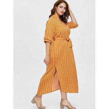 Belted Plus Size Striped Ankle Length Dress - YELLOW L