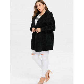 Collarless Plus Size Hooded Faux Fur Coat - BLACK L