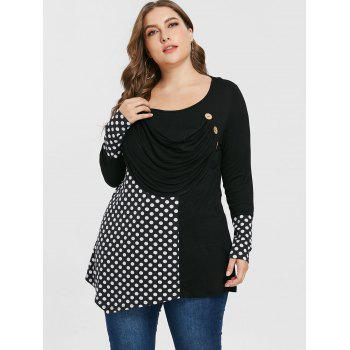 Plus Size Dotted Draped Tunic T-shirt - BLACK 5X