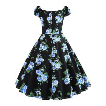 Plus Size Sweetheart Neck Vintage Dress - BLUE 1X