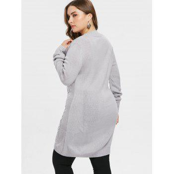 Front Pockets Plus Size Button Cardigan - GRAY L