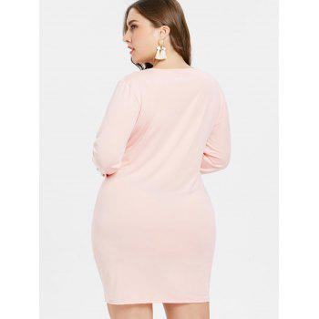 Plus Size V Neck Ruched Dress - SAKURA PINK 2X