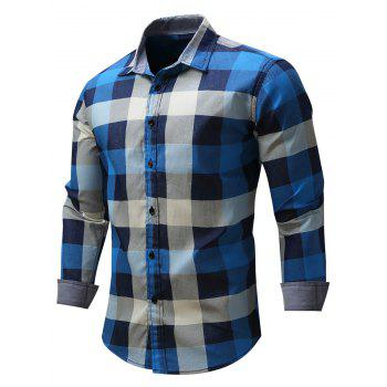 Casual Color Block Checked Shirt
