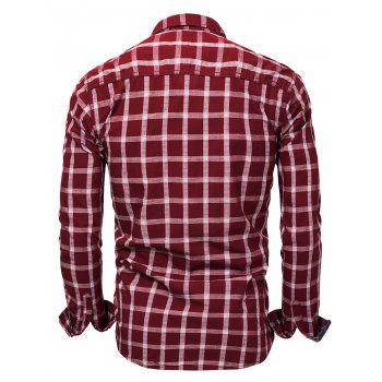 Chest Pocket Check Print Shirt - RED M