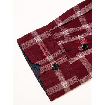 Chest Pocket Check Print Shirt - RED 2XL