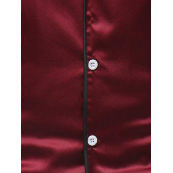 Chemise Décontractée Design Bordure Style Simple - Rouge Vineux M