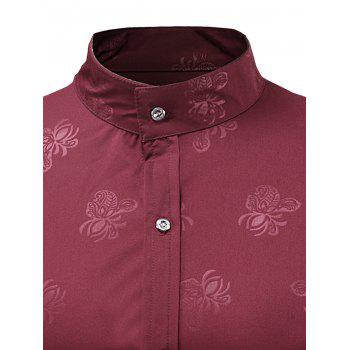 Stand Collar Floral Print Long Sleeve Shirt - RED WINE L