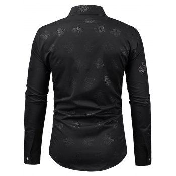 Stand Collar Floral Print Long Sleeve Shirt - BLACK L