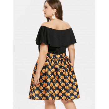 Plus Size Off Shoulder Halloween Pumpkin Dress - BLACK 3X