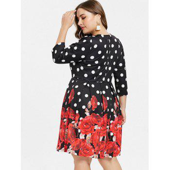Plus Size Rose Print A Line Dress - BLACK L