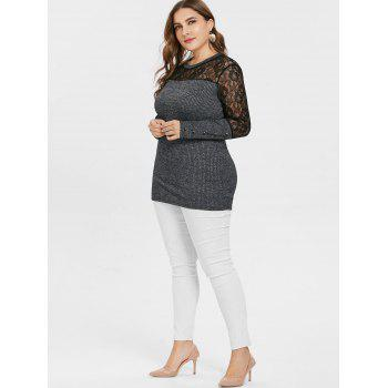 Plus Size Lace Panel Buttoned Knitwear - GRAY L