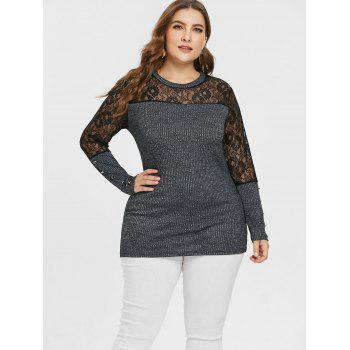 Plus Size Lace Panel Buttoned Knitwear - GRAY 1X