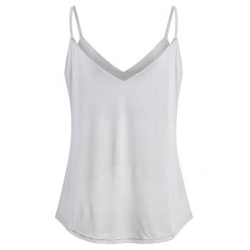 Thin Straps Twist Front Tank Top - LIGHT GRAY L
