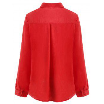 Lapel Neck Button Up Blouse - RED S