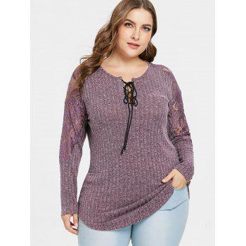 Plus Size Ribbed Lace Insert Knitwear - PALE VIOLET RED 2X