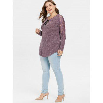 Plus Size Ribbed Lace Insert Knitwear - PALE VIOLET RED 3X