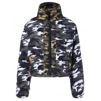 Shirt Collar Zip Up Cropped Camouflage Jacket - ACU CAMOUFLAGE S