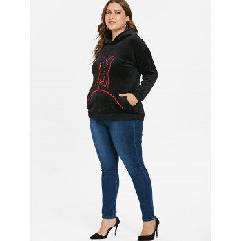 Plus Size Crushed Graphic Hoodie - BLACK 1X