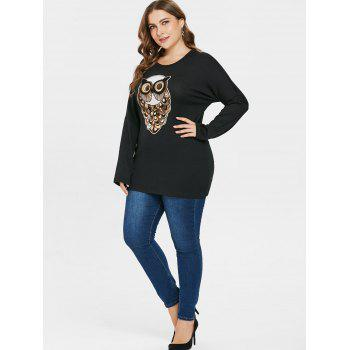 Sequin Owl Pattern Plus Size T-shirt - BLACK L