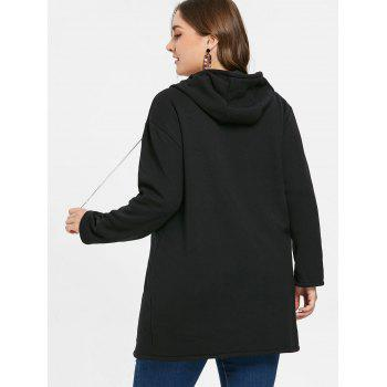 Plus Size Zipper Drawstring Hoodie - BLACK 1X